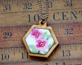 Pink flowers Mini Hexagon Pendant Necklace- wood wooden