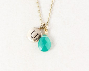 Green Onyx Initial Charm Necklace - Monogram Necklace