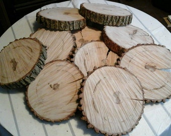 """10 Pc 5.5"""" to 7""""  Log Slices Wood Disk Rustic Wedding Centerpiece Coaster"""