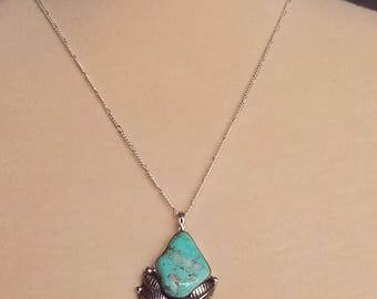 Battle Mountain TURQUOISE  pendant. Solid Sterling, crafted in USA