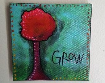 Tree art, Grow Like a Tree,  abstract miniature art painting