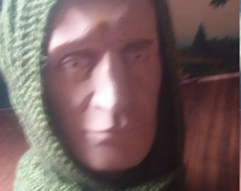 scarf hooded  wool and mocher