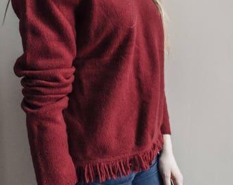 Vinage 100% Wool Fringed Sweater