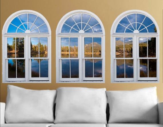 Wall mural window self adhesive Colorado lake window