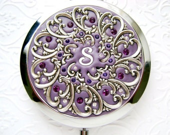 Personalized Bridesmaid Compact Mirror-Personalized Compact Mirror-Personalized Bridesmaid Gift-Orchid Wedding