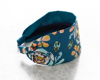 Fleet & Flourish - Blue - Floral Print Wide Fabric Headband