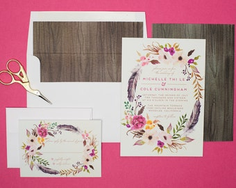 Bohemian Wedding Invitation Set - Do-It-Yourself - Printable - Floral Flower Wedding Invitations - Rustic - Feathers - Michelle