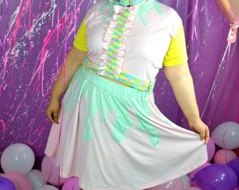 Pink Drippy Skater Skirt