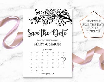 Save the Date Template, Save the Date Printable, Rustic Save the Date Card, Calender Save the Date Card, Wedding Announcement Card