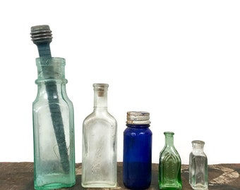 Vintage Collection of 5 Glass Bottles // Collectible Glass Farmhouse Style // Props
