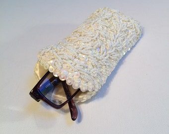 SAFCO Beaded Eyeglass Case, Vintage Pearl Case, Weddings, Special Occasions, Hand Made with Pearls and Sequins