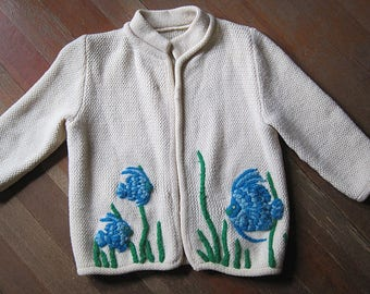 Vintage 1950s Novelty Sweater / Embroidered Cardigan Sweater / 50s 60s Sweater Tropical Fish