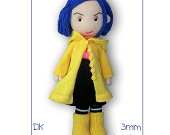 Coraline doll - pdf download knitting pattern
