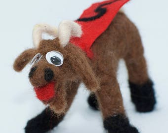 Billy the ScapeGoat, Felted animal, funny, gift, FREE SHIPPING