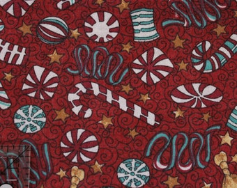 "Vintage Christmas candy fabric , vintage red , pre-washed  100% cotton 42"" wide"