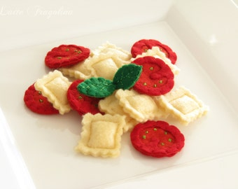 RAVIOLI pasta vol,2 with Cherry tomatoes, felt food toy,Italian cuisine,children,felt food