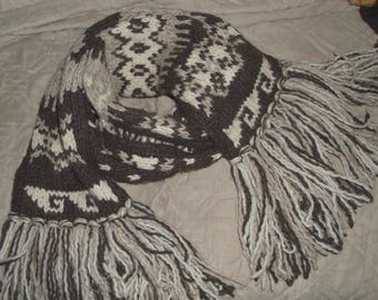 Vintage Abercrombie and Fitch Long and Thick Fringed Wool Scarf Elk and Geometric Pattern