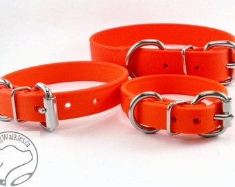 "Blaze Neon Orange 5/8"" - 16mm Beta Biothane Dog Collar - Leather Look and Feel - Adjustable Custom Size"