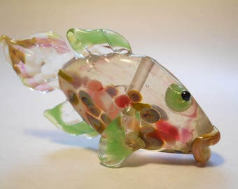 Translucent glass fish necklace, Lampwork Glass Beads, handmade focal bead, ocean bead, jewelry supplies, SRAJD, CGGE