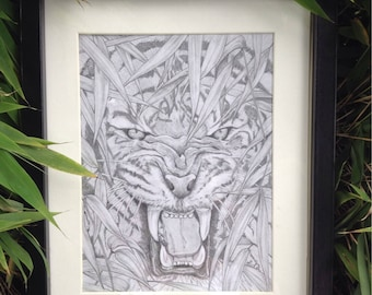 """Tiger in the forest drawing using graphite pencil . """" You never know who's watching"""""""
