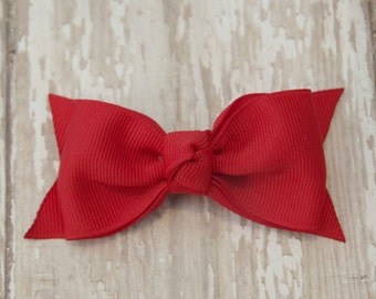 Red Tuxedo Style Toddler Hair Bow 3 Inch Alligator Clip Baby Hairbow