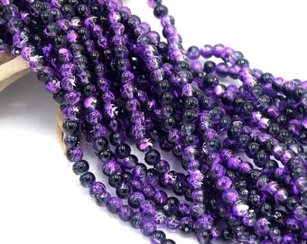 Glass round beads purple spotted 4mm in packs of 60/80/100 units