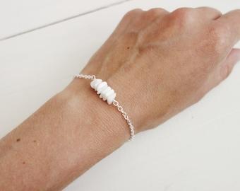 Chain bracelet white agate bracelet white stone bracelet dainty minimalist bracelet for women