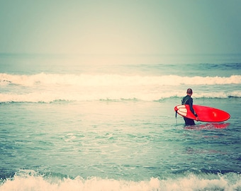 as seen on Modern Family. surfer photograph. Liquid Courage red surfboard white mint blue beach California seaside for him, dorm decor