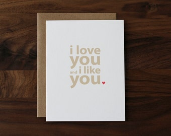 Anniversary Card - Valentine Card - Birthday Card - Love Card - For Him - For Her - I Love You and I Like You - 091