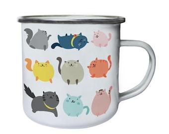 Cute Cats Cat Lovers Retro,Tin, Enamel 10oz Mug b247e