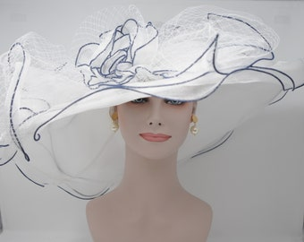 """New Kentucky Derby, Church, Wedding, Tea Party with A Big Flower 4 Layers 7"""" Wide Brim Organza Hat( White With Navy Blue)"""