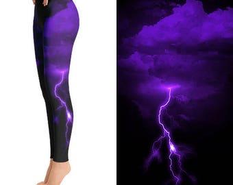 Purple Lightning Leggings, Lightning Bolt Clothing, Thunder Bolt, Thunder Storm, Funky Leggings, Unique Leggings, Designer Leggings