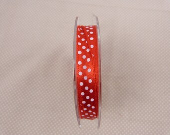 Roll of 10 meters of satin ribbon, red white polka dots