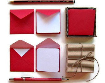 Red Envelopes Mini Stationery Set, White Blank Note Cards, Valentines Day, Handmade, Gifts Greetings Under 15, Small, Square, Christmas Tags