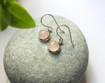 Rose quartz earrings, Natural Rose quartz sterling silver earrings, dangle gemstone earrings, Round pink stone earrings, Rose quartz set