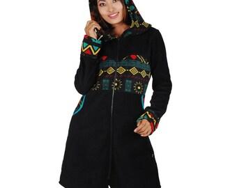 Ethnic long black hoodie original design cardigan festival wear