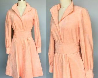 peach fuzz / 1970s peach suede dress by mollie parnis 'ultra suede' / medium