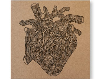 Heart Illustrated Card, Valentines Day, Anatomical Heart, Love Card, Handmade Greeting Card