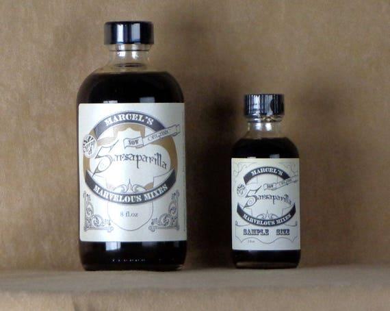 8 OZ FULL SIZED Handcrafted organic Sarsaparilla drink syrup, homemade sarsaparilla syrup, stocking stuffer, root beer soda syrup