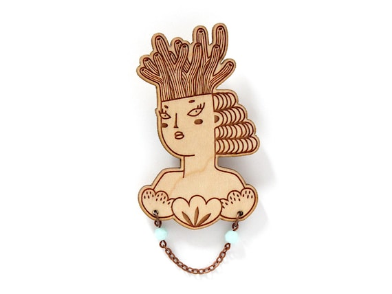 Mermaid brooch - wooden pin - mint necklace - woman with coral on her head and shells on her chest - lasercut jewelry - wood jewellery