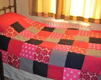Patchwork Quilt Pink, Navy Red Vintage Retro Style Patchwork Quilt. Handmade Patchwork Quilt, Single Bed Patchwork Quilt. SALE PRICE Quilt