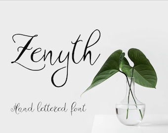 Hand script font, Zenyth Script font, hand written typeface, hand crafted font, Commercial License, OTF, TTF