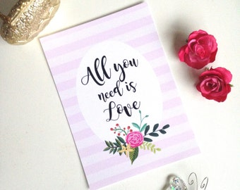 All you need is love print, valentine's day gift, valentine's decor, quote print, typography print, quote decor, wall art, mother's day gift