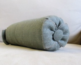 baby bow bolster vanity pillow seaside blue burlap 4x11