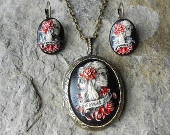 Choose Bronze or Silver - Hand Painted Cameo Locket and Earring Set-- Skeleton Woman - Forever Love - Zombie - Sugar Skull
