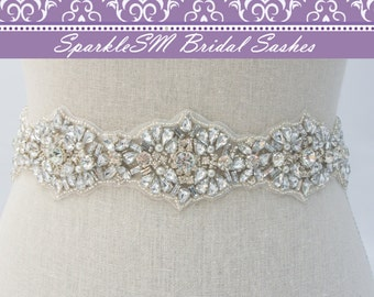 Blue Bridal Belt, Swarovski Sash, Beaded Bridal Sash, Bridal Dress Sash, Jeweled Bridal Belt, Crystal Belt, Bridal Sash, Rhinestone Sash
