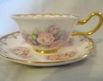 Vintage Staffordshire Fine Bone China England Tea Cup And Saucer