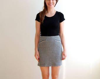 Agnes b checkered wool mini skirt