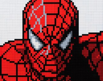 Mosaic comic Super Heroes using Lego® bricks.