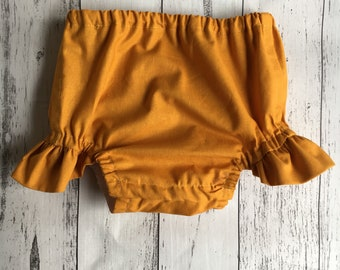 Ready To Send- Mustard Flutter leg Nappy Cover.